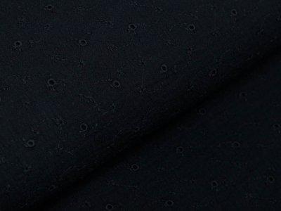 Musselin Baumwolle Double Gauze mit Lochstickerei Broderie - Blumenranken - schwarz