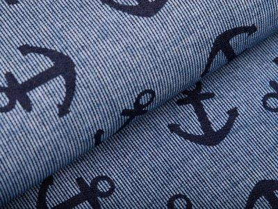 Leichter Jeansstoff - Anker auf Streifen - denim/dunkles blau