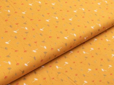 Webware Popeline Baumwolle - Pusteblumen - ocker