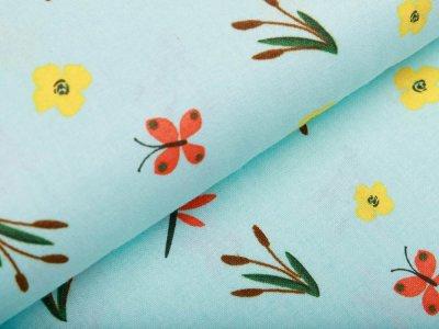 Webware Baumwolle - Schilf und Libellen - mint