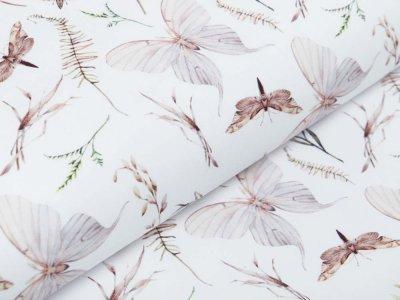 Webware Popeline Baumwolle Digitaldruck - Motten und Gräser - weiß