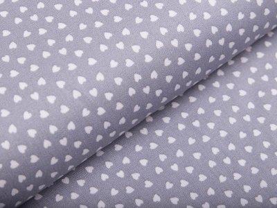 Webware Baumwolle - mini Herzen - grau