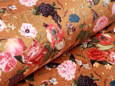 Velvet - Trauben und Blumen - ocker