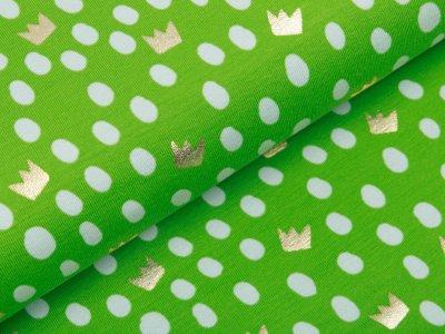 Jersey mit Foliendruck - Kronen und Punkte - grün
