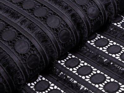 Designerspitze mit Glanzeffekt - Kreise und Fransen - schwarz