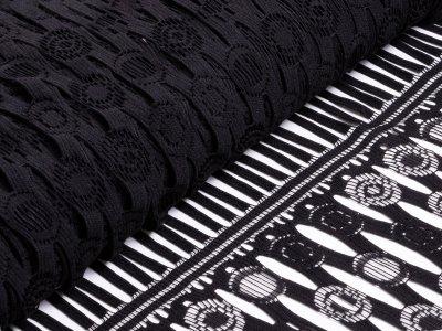 Spitze PANEL ca. 135cm x 115cm - Kreise mit Fransen - schwarz
