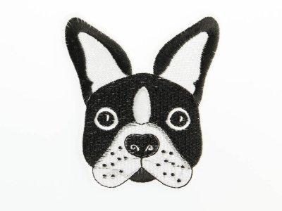 Aufbügler/Aufkleber Französische Bulldogge ca. 8,6 x 9,8 cm - schwarz/weiß