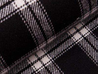 Wollstoff Doubleface - Karos - schwarz/weiß
