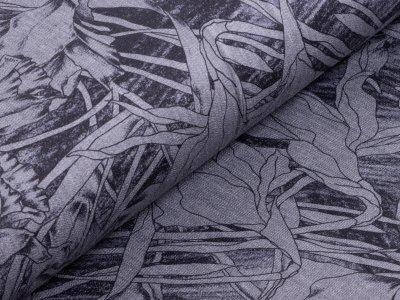 Elastischer Jeansstoff bedruckt - handgezeichnetes Blütenmuster - grau