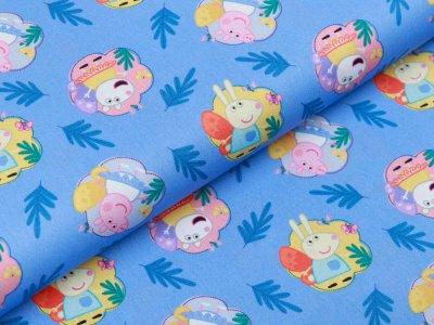 Webware Popeline Baumwolle Digitaldruck Peppa Wutz - Peppa und ihre Freunde im Schmetterlingskostüm - blau