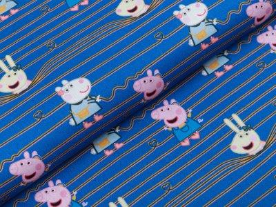 Webware Popeline Baumwolle Digitaldruck Peppa Wutz - Peppa und ihre Freunde auf Streifen - blau