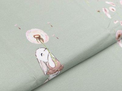 Jersey Digitaldruck Stenzo PANEL ca. 100 x 150cm - Pusteblumen und Häschen - altmint