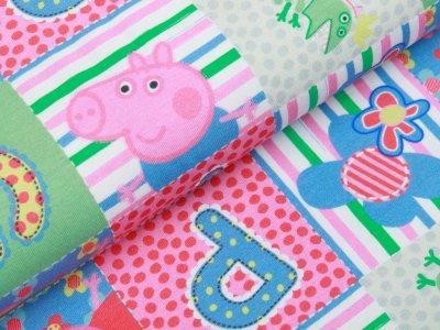 Jersey Digitaldruck Peppa Wutz - Peppa und Buchstaben - pink