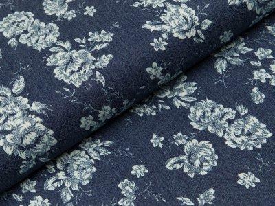 Jeansstoff - Blumen - dunkles jeansblau