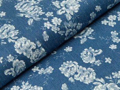 Jeansstoff - Blumen - jeansblau