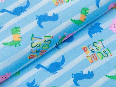 Jersey Digitaldruck Peppa Wutz - Best Buds! auf Streifen - blau