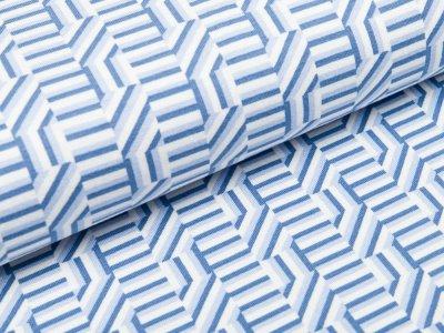 Jersey Viskose Milliblu´s - gemusterte Karos - weiß/blau