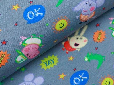 Jersey Digitaldruck Peppa Wutz - Peppa und ihre Freunde - grau