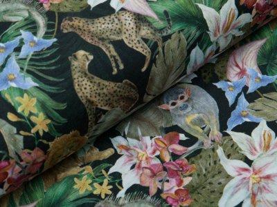Jersey Digitaldruck Auva - Exotische Tiere und Lilien - antharzit