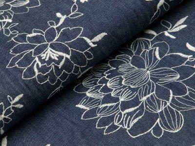 Leichter Jeansstoff mit Stickerei - Blumen - dunkles jeansblau