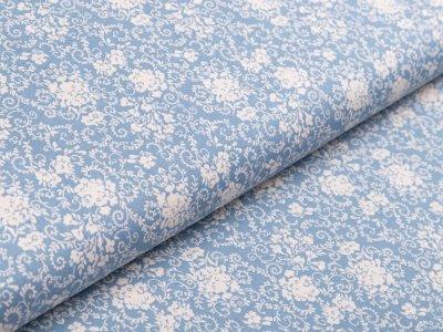 Webware Baumwolle - Floraleornamente - jeansblau