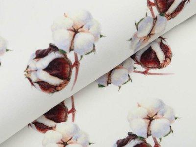 Jersey Digitaldruck Agena - Baumwollknospen - cremweiß