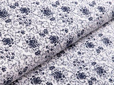 Webware Baumwolle - Floraleornamente - weiß/nachtblau