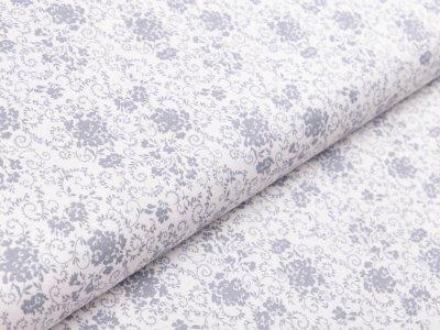 Webware Baumwolle - Floraleornamente - weiß/grau