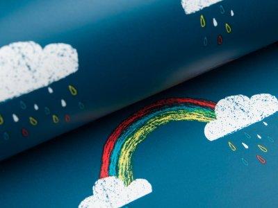 Regenjackenstoff - Regenbögen und Regenwolken - petrol