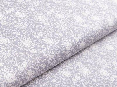 Webware Baumwolle - Floraleornamente - grau