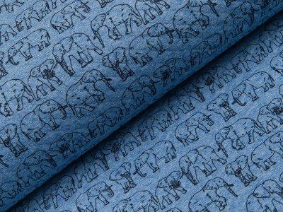 Rautenstepp Double Face - Elefanten - meliert blau