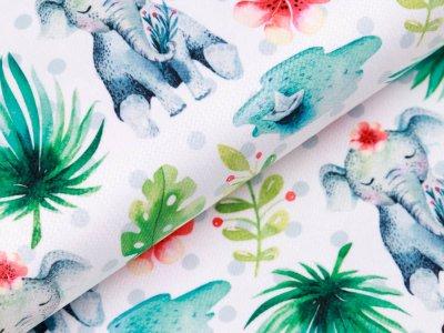 Struktur Velvet - Elefanten und Palmenblätter - weiß