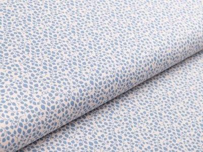 Webware Baumwolle - Blätterranken - creme/blau