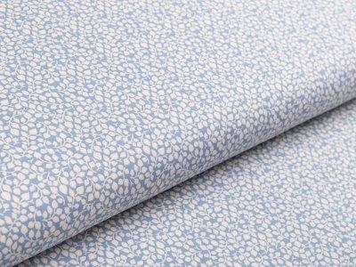 Webware Baumwolle - Blätterranken - blau/creme