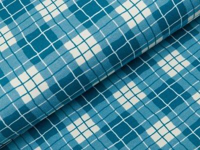 Sweat French Terry Swafing Sweet Bears - Karos 0,5 cm x 0,5 cm - jeansblau