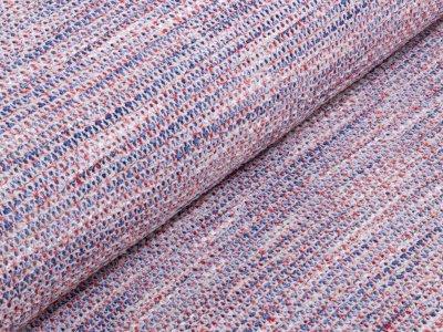 KDS Queen's Collection - Strickstoff Sommer mit eingezogenem Glanzband - weiß/blau/rot