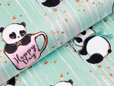 Struktur Velvet - glückliche Pandas - mint
