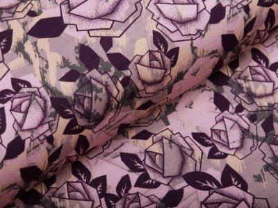 Leicht angerauter Sweat Swafing Rosie - abstrakte Rosenblüten - altrosa