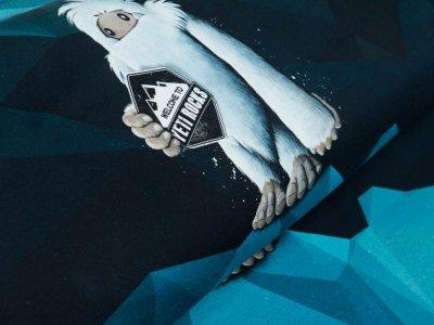 Sweat French Terry Swafing PANEL ca. 65 cm x 160 cm Yeti Rocks by Thorsten Berger - cooler zotteliger Yeti - schwarz