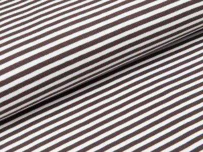 Glattes Bündchen im Schlauch - gestreift weiß/braun