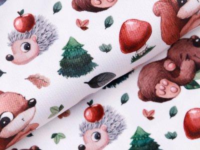 Struktur Velvet - Igel mit Äpfel und Tierfreunde - weiß