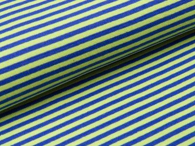 Glattes Bündchen im Schlauch - gestreift blau/grün
