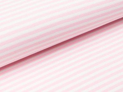 Glattes Bündchen im Schlauch - gestreift weiß/pink