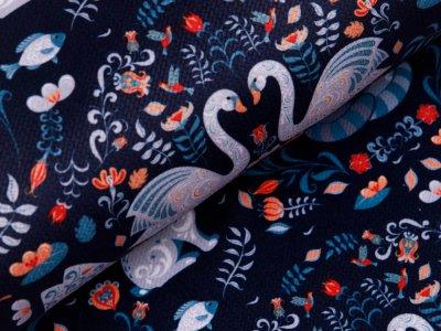 Struktur Velvet - verliebte Tiere - nachtblau