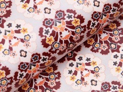 Laminierter Baumwollstoff by Klaranähta - Florale Ornamente - grau
