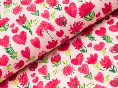 Sweat French Terry  - Blumen und Herzen - rosa