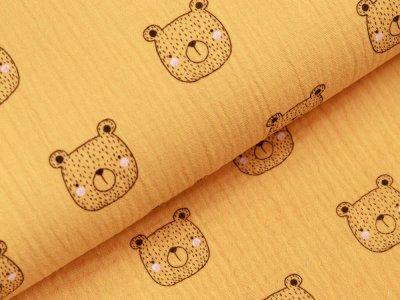 Baumwolle Musselin Double Gauze - Bären - ocker