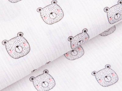 Baumwolle Musselin Double Gauze - Bären - weiß