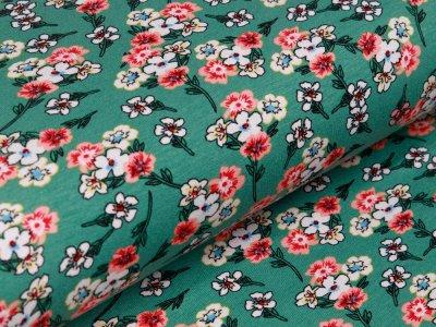 Jersey Viskose - Blumensträuße - altmint
