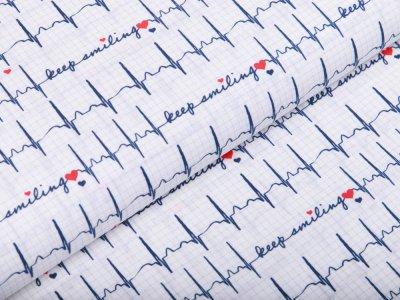 Webware Baumwolle Swafing Toni - Heartbeat-keep smiling - weiß